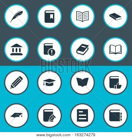 Vector Illustration Set Of Simple Reading Icons. Elements Academic Cap, Journal, Important Reading And Other Synonyms Pen, Notepad And Bookmark.