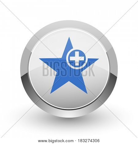 Star chrome border web and smartphone apps design round glossy icon.