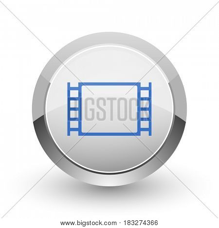 Movie chrome border web and smartphone apps design round glossy icon.