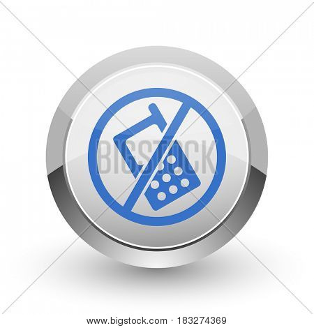 No phone chrome border web and smartphone apps design round glossy icon.
