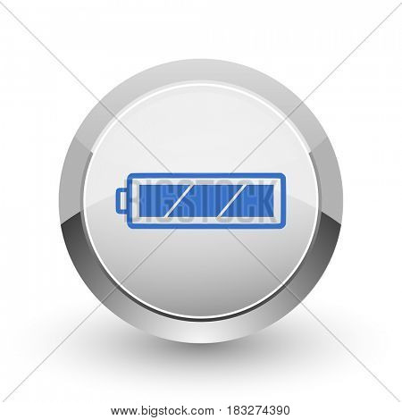 Battery chrome border web and smartphone apps design round glossy icon.