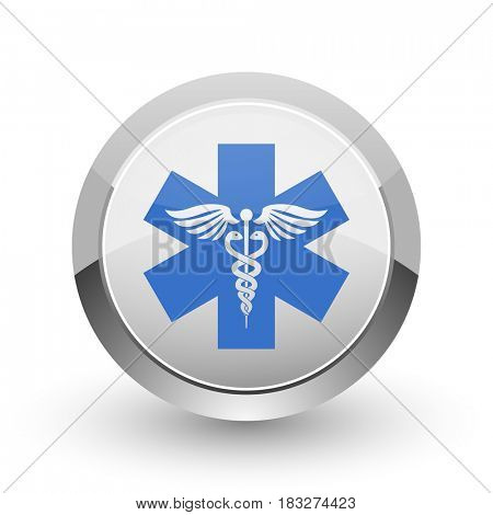 Emergency chrome border web and smartphone apps design round glossy icon.