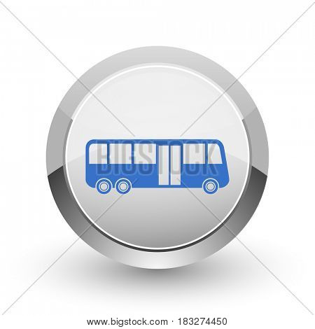 Bus chrome border web and smartphone apps design round glossy icon.