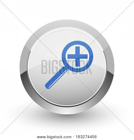 Lens chrome border web and smartphone apps design round glossy icon.