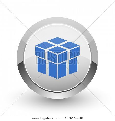 Box chrome border web and smartphone apps design round glossy icon.
