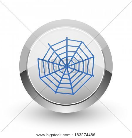 Spider web chrome border web and smartphone apps design round glossy icon.