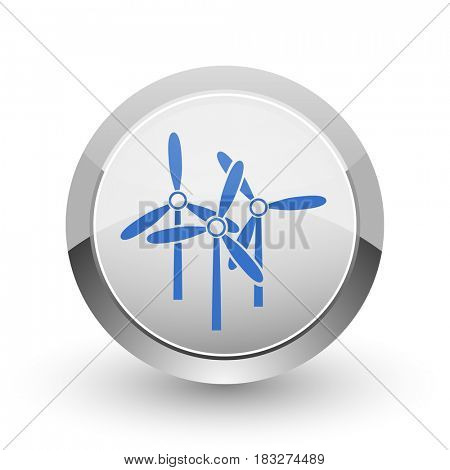 Windmill chrome border web and smartphone apps design round glossy icon.