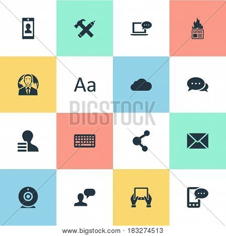Vector Illustration Set Of Simple Newspaper Icons. Elements Share, Profile, Argument And Other Synonyms Tablet, News And Earnings.
