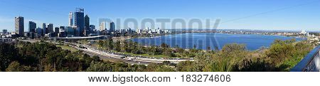 Panorama view of Perth city from King's Park. Western Australia