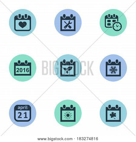 Vector Illustration Set Of Simple Date Icons. Elements 2016 Calendar, Renovation Tools, Heart And Other Synonyms Spring, Autumn And April.