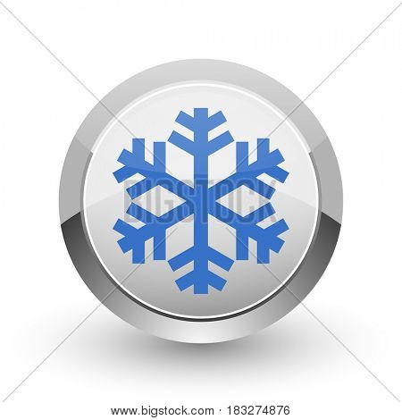 Snow chrome border web and smartphone apps design round glossy icon.