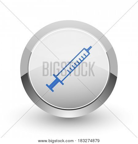 Medicine chrome border web and smartphone apps design round glossy icon.