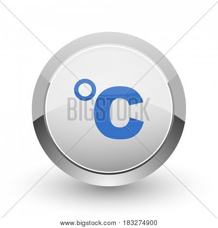 Celsius chrome border web and smartphone apps design round glossy icon.