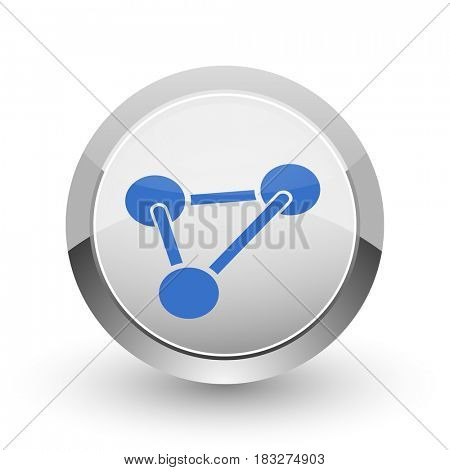 Chemistry chrome border web and smartphone apps design round glossy icon.