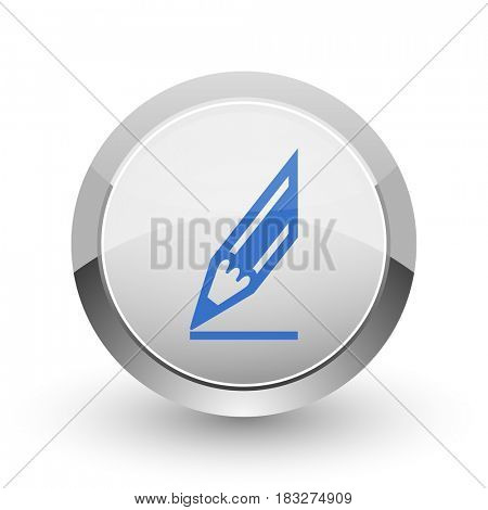 Pencil chrome border web and smartphone apps design round glossy icon.