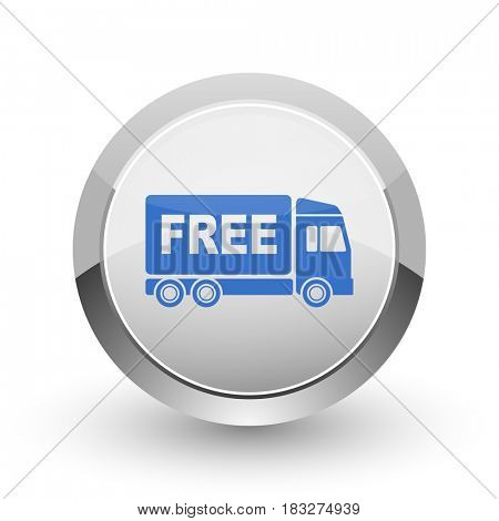Free delivery chrome border web and smartphone apps design round glossy icon.