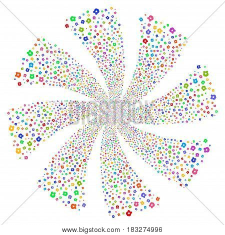 Police fireworks swirl rotation. Vector illustration style is flat bright multicolored iconic symbols on a white background. Object twirl created from random symbols.