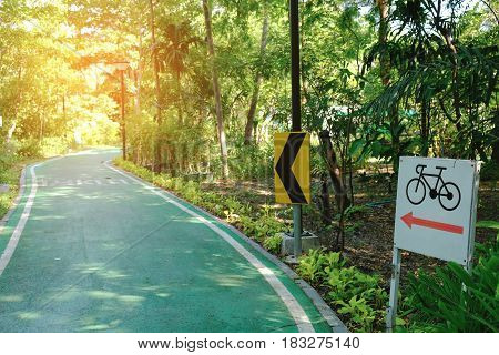 Bicycle trails shady in the park,Bangkok Thailand