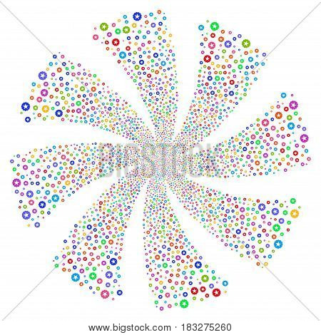 Quality fireworks swirl rotation. Vector illustration style is flat bright multicolored iconic symbols on a white background. Object whirl combined from random design elements.