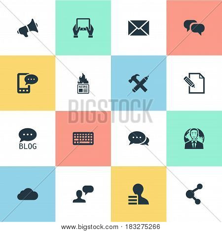 Vector Illustration Set Of Simple Blogging Icons. Elements Gazette, Gossip, Keypad And Other Synonyms Cloud, Gain And Globe.