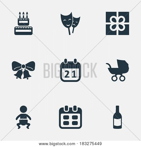 Vector Illustration Set Of Simple Holiday Icons. Elements Infant, Days, Baby Carriage And Other Synonyms Carriage, Days And Box.