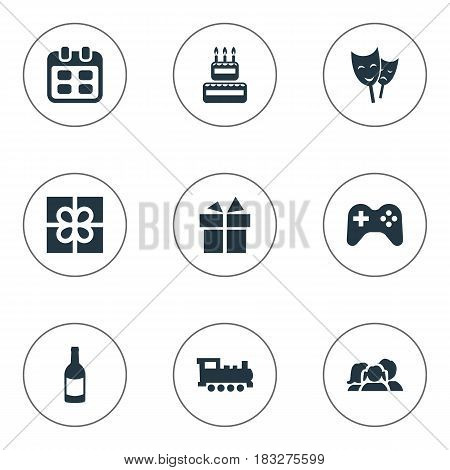 Vector Illustration Set Of Simple Birthday Icons. Elements Confectionery, Ribbon, Beverage And Other Synonyms Date, People And Joystick.