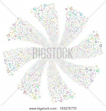 Recycle Triangle fireworks swirl rotation. Vector illustration style is flat bright multicolored iconic symbols on a white background. Object whirlpool organized from random design elements.