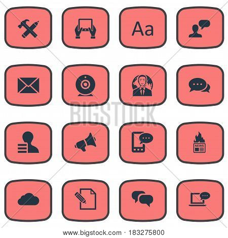 Vector Illustration Set Of Simple Blogging Icons. Elements Man Considering, Overcast, Post And Other Synonyms Notepad, Repair And Debate.
