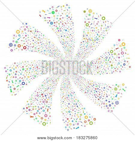 Repair Instruments fireworks swirl rotation. Vector illustration style is flat bright multicolored iconic symbols on a white background. Object flower done from random design elements.
