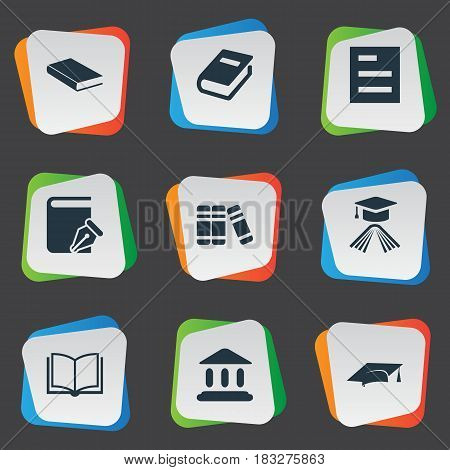 Vector Illustration Set Of Simple Reading Icons. Elements Academic Cap, Graduation Hat, Blank Notebook And Other Synonyms Academy, Book And List.