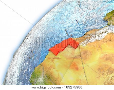Western Sahara On Model Of Planet Earth