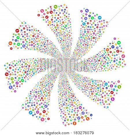 Rounded Arrow fireworks swirl rotation. Vector illustration style is flat bright multicolored iconic symbols on a white background. Object twirl made from random icons.