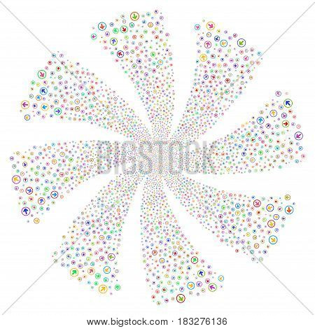 Rounded Arrow fireworks swirl rotation. Vector illustration style is flat bright multicolored iconic symbols on a white background. Object flower done from random symbols.