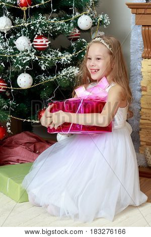 Cute little Princess white dressy holiday dress near the Christmas tree. Girl holding in hands a big box with a gift.