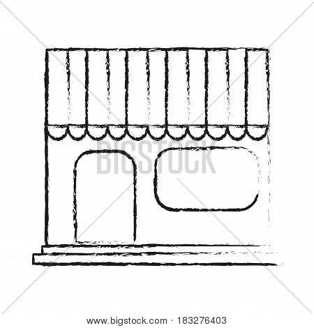 store frontview icon image vector illustration design  black sketch line