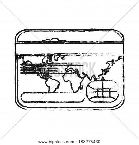 credit or debit card icon image vector illustration design  black sketch line