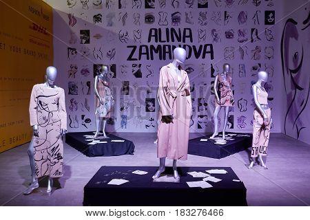 Kyiv Ukraine - February 7 2017: Alina Zamanova Installation as Part of Ukrainian Fashion Week 2017.