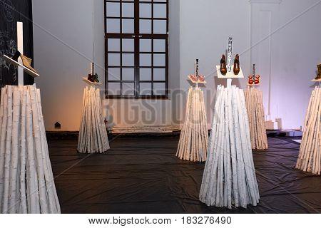 Kyiv, Ukraine - February 5, 2017: Art Installation As Part Of Ukrainian Fashion Week 2017