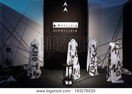 Kyiv, Ukraine - February 4, 2017: Diphylleia Art Installation As Part Of Ukrainian Fashion Week 2017