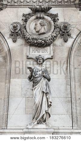 Architectural details of Opera National de Paris: Dance Facade sculpture by Carpeaux.