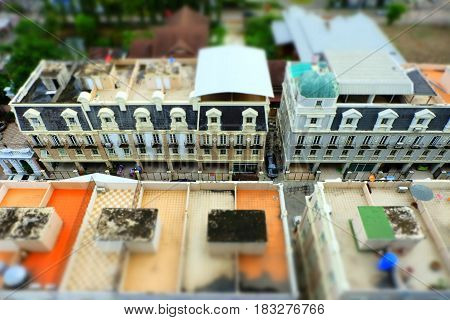 Aerial views of Old Buildning in Tilt Shift Effect.
