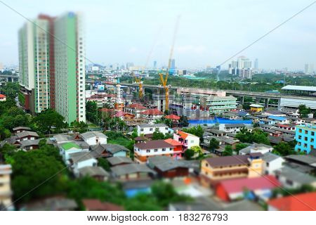 Aerial views of Cityscape in Tilt Shift Effect.