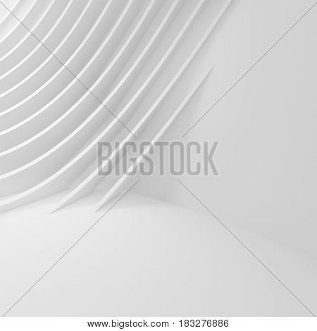 Abstract Wall Background. White Interior Design. 3d Rendering