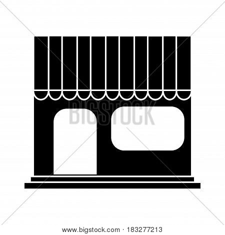 store frontview icon image vector illustration design  inverted black and white
