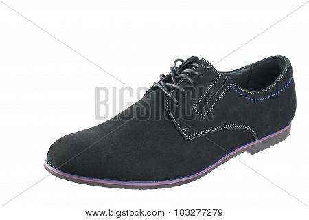 Classic men's shoes made of genuine suede. Isolated on a white background.