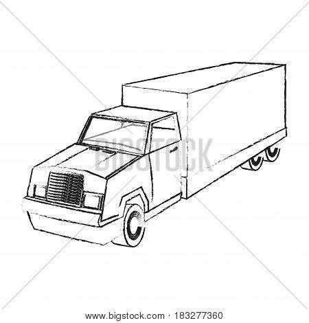 big cargo truck icon image vector illustration design  black sketch line