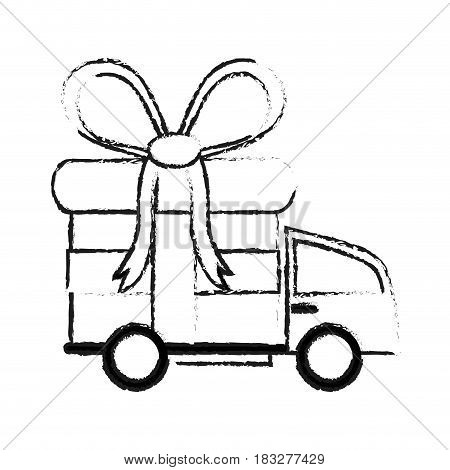 delivery truck and gift box icon image vector illustration design  black sketch line