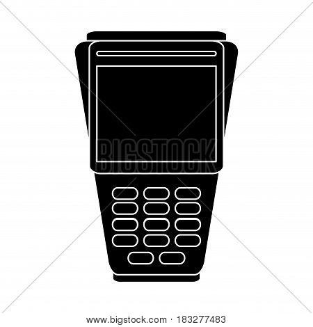 dataphone with blank screen icon image vector illustration design  inverted black and white