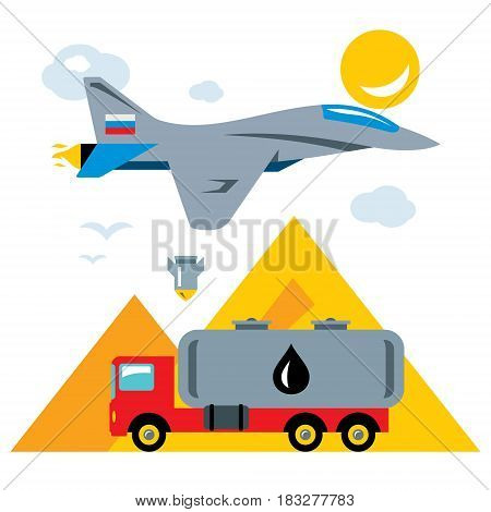Fighter aircraft and illegal transportation of petroleum. Isolated on a white background