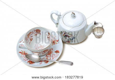 Porcelain teapot on a white background